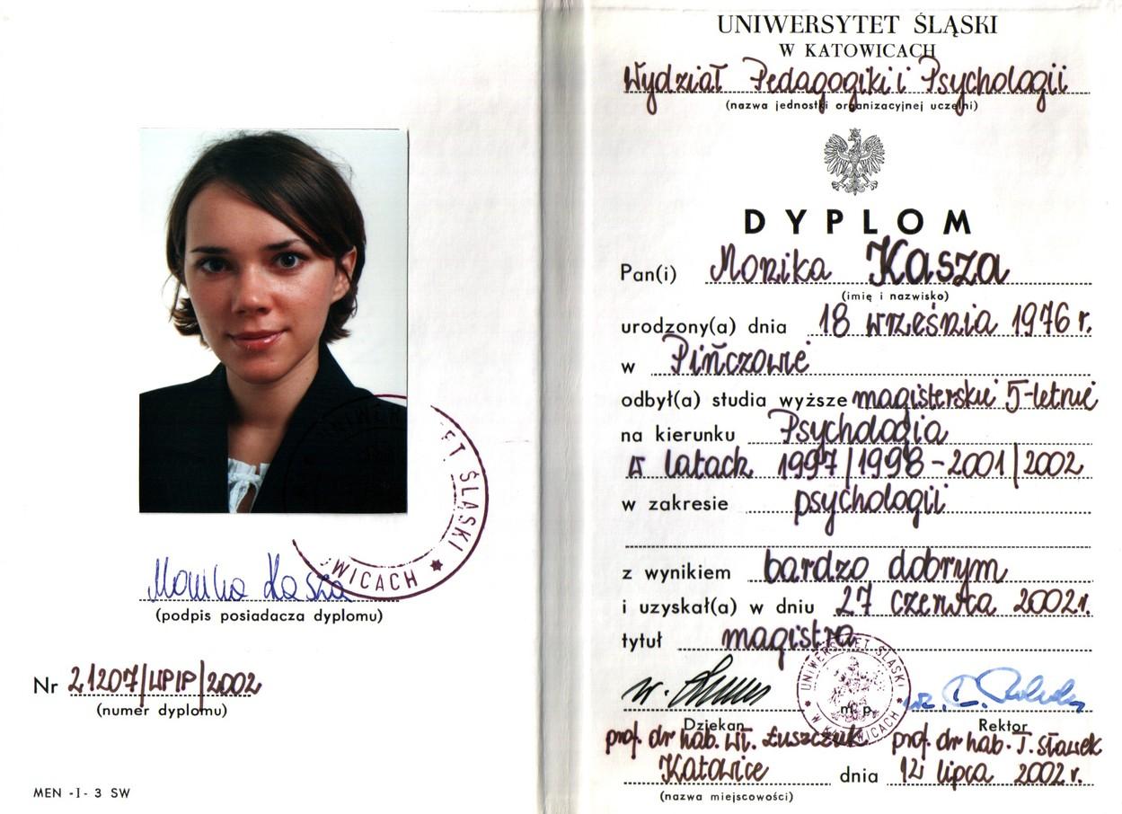 Psycholog Monika Kasza - Dyplom ukończenia studiów