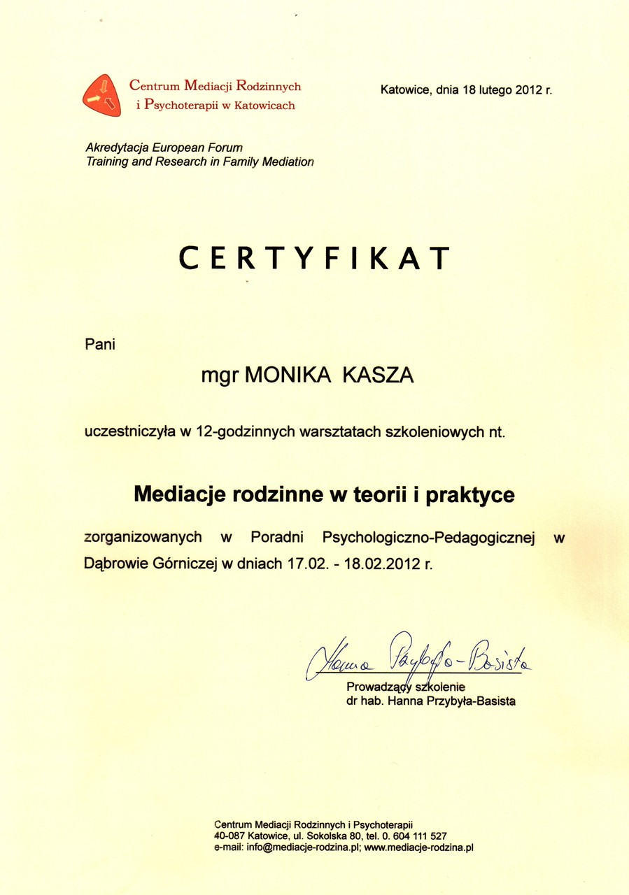 Psycholog Monika Kasza - Dyplom psychoteraupeuty rodzinnego