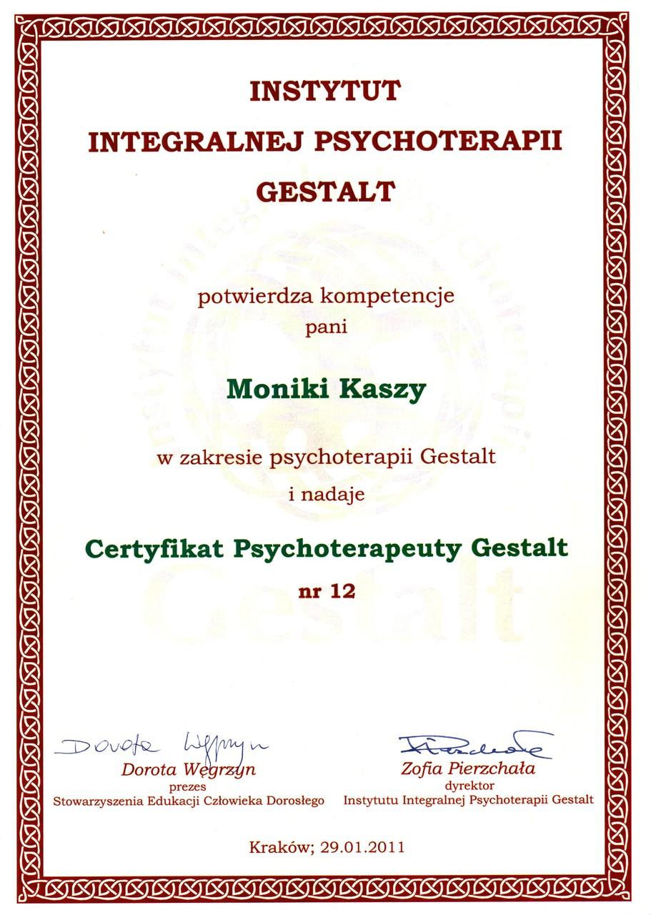 Psycholog Monika Kasza - Dyplom psychoteraupeuty Gestalt