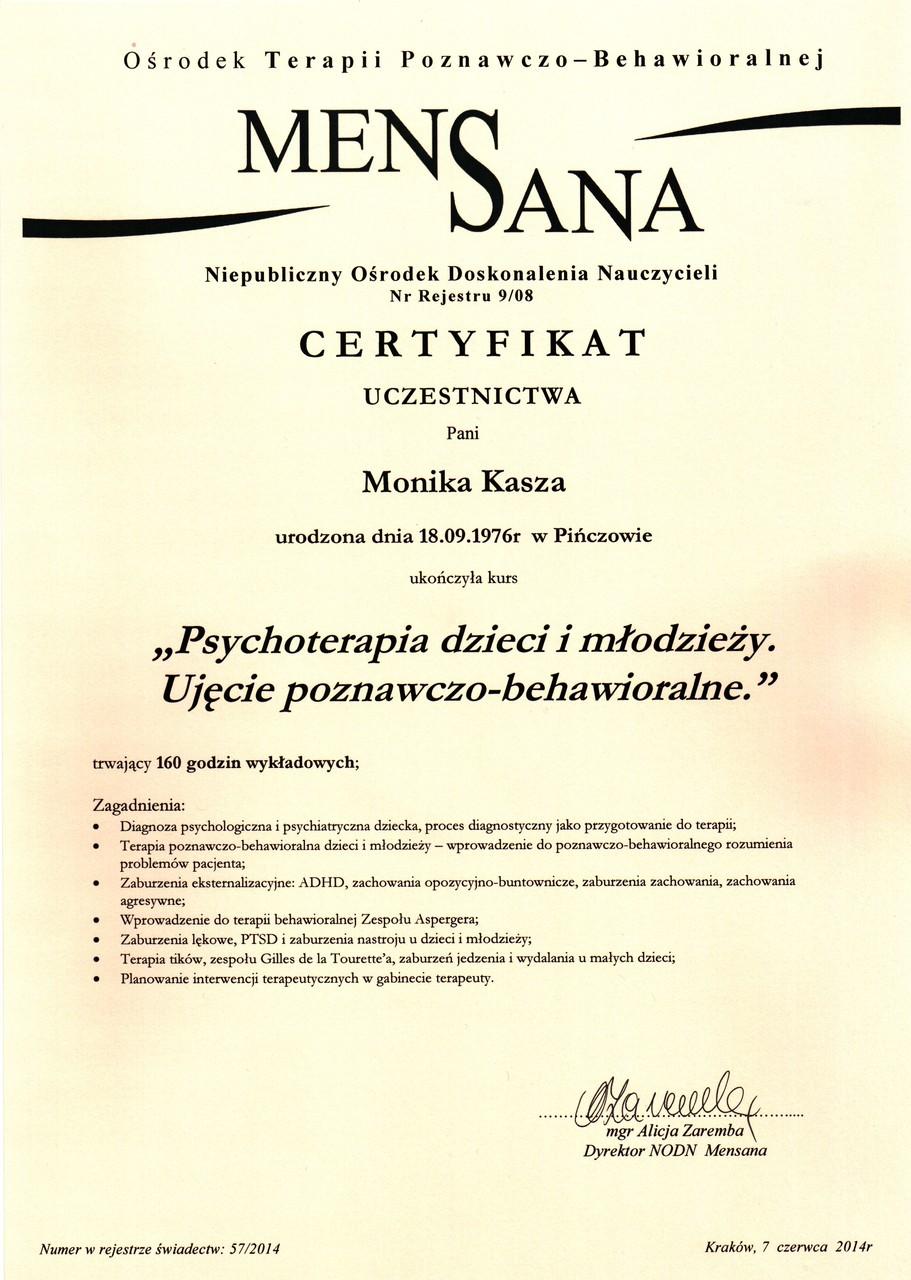 Psycholog Monika Kasza - Dyplom psychoteraupeuty dziecięcego